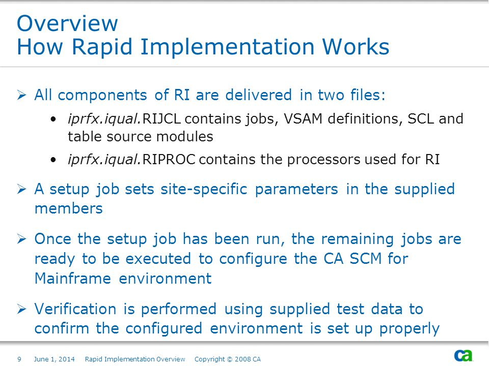 9June 1, 2014 Rapid Implementation Overview Copyright © 2008 CA Overview How Rapid Implementation Works Subtitles are Part of Title Field, then Modified Manually (see next page) Page based on Title and Text from Slide Layout palette.
