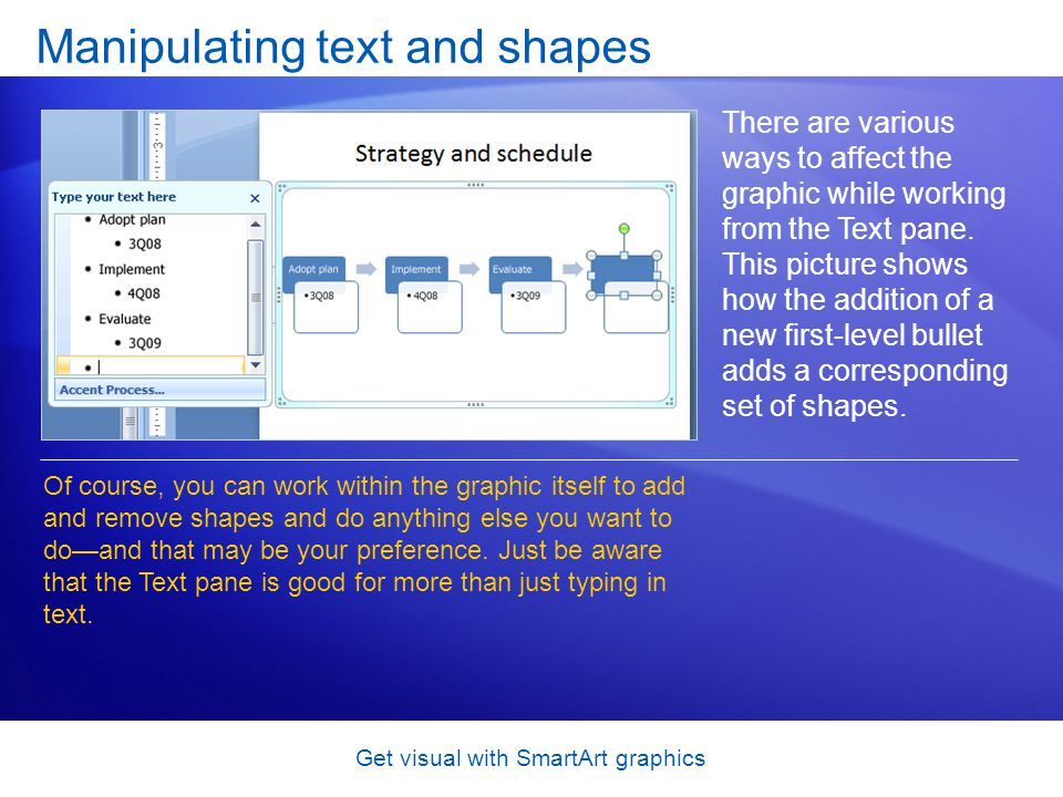 Get visual with SmartArt graphics Manipulating text and shapes There are various ways to affect the graphic while working from the Text pane. This pic