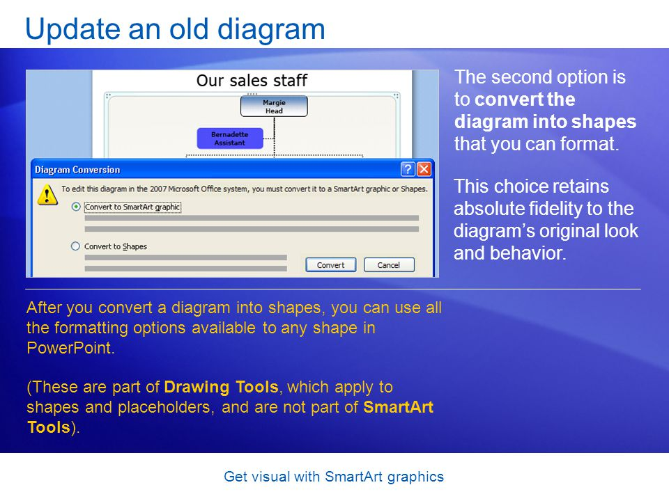 Get visual with SmartArt graphics Update an old diagram The second option is to convert the diagram into shapes that you can format. After you convert