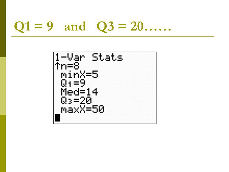 Q1 = 9 and Q3 = 20……