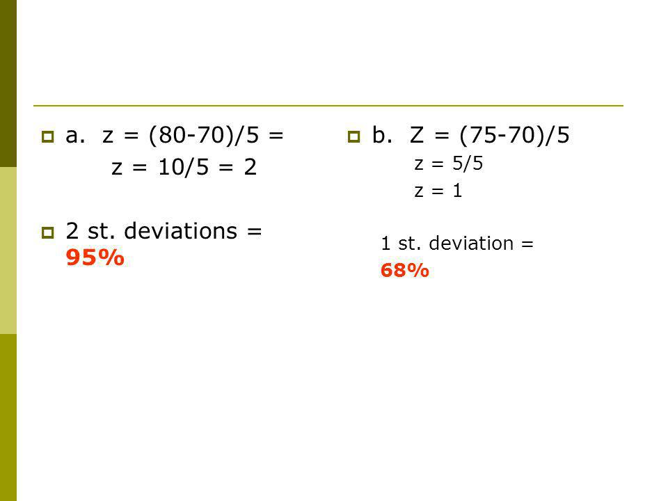 a. z = (80-70)/5 = z = 10/5 = 2 2 st. deviations = 95% b. Z = (75-70)/5 z = 5/5 z = 1 1 st. deviation = 68%