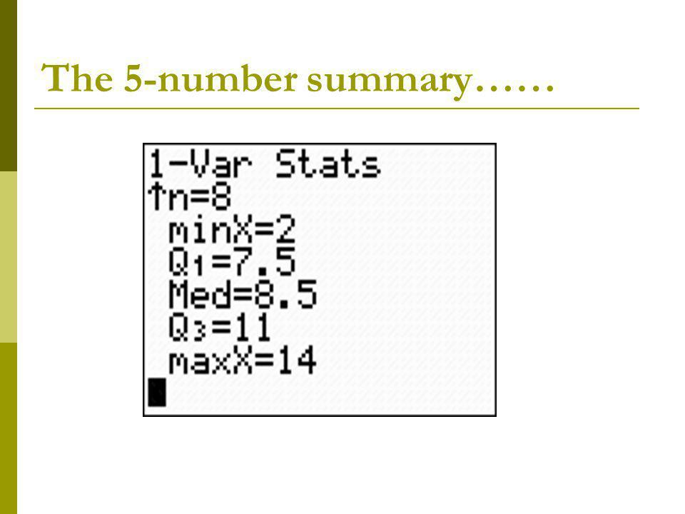 The 5-number summary……