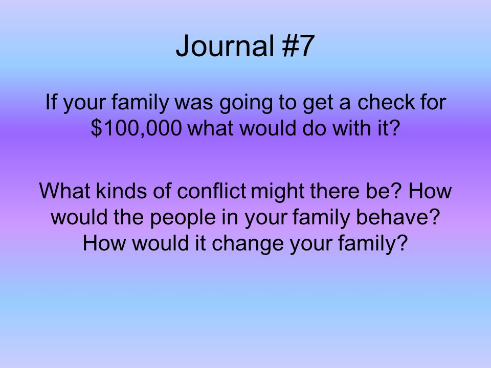 Journal #7 If your family was going to get a check for $100,000 what would do with it? What kinds of conflict might there be? How would the people in