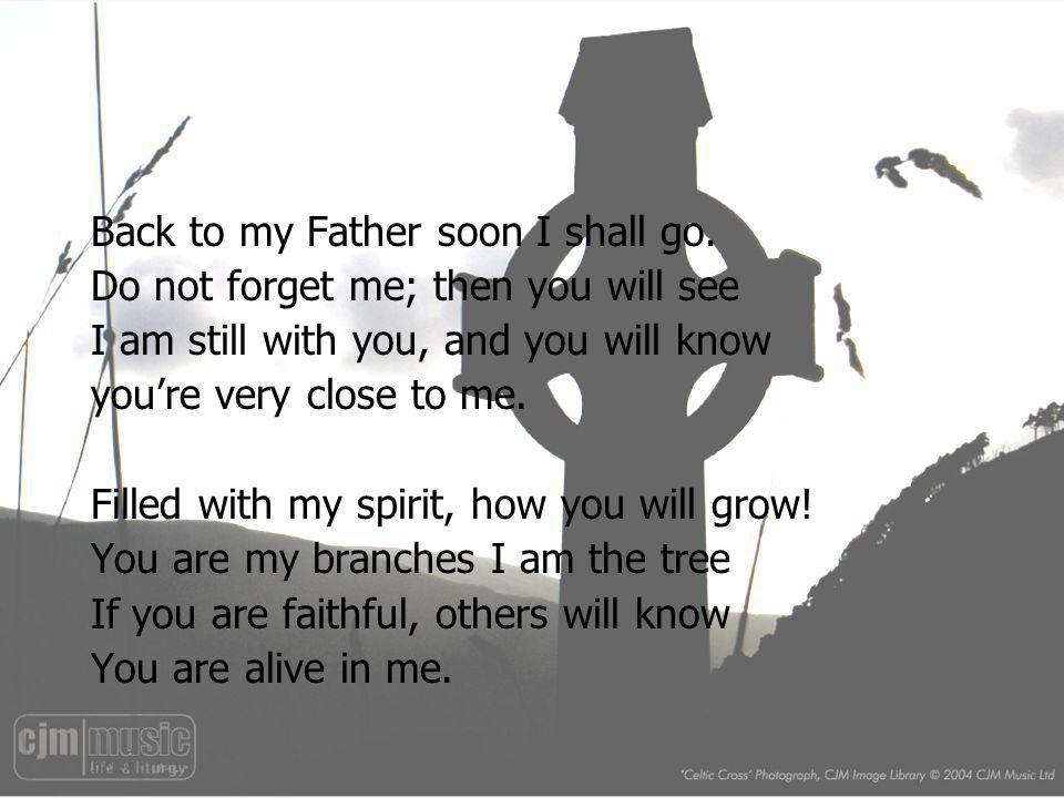 Back to my Father soon I shall go. Do not forget me; then you will see I am still with you, and you will know youre very close to me. Filled with my s