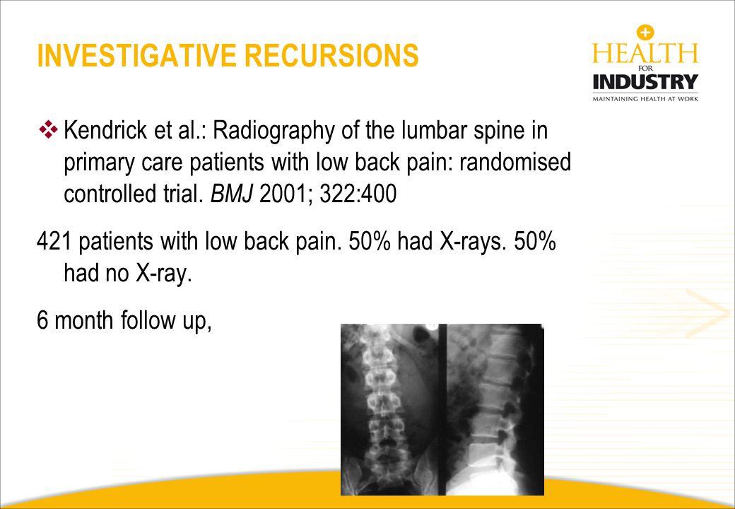 X Rays MRI Findings 60yrs Herniated disc22%36% Bulging disc54%79% Degenerative disease46%93% Journal of Bone and Joint Surgery 1990