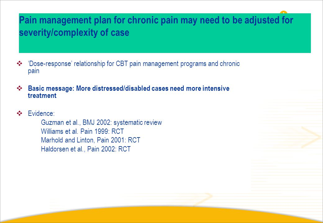 When pain has become chronic? Is it too late?