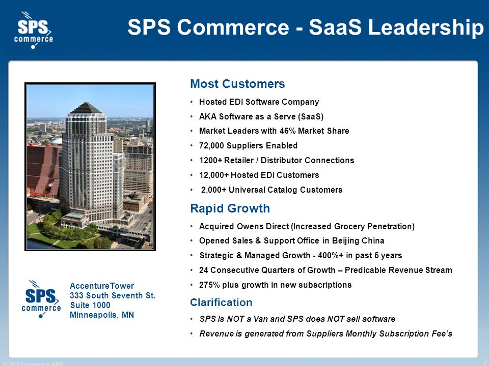 © SPS Commerce 2006 2 SPS Commerce - SaaS Leadership Most Customers Hosted EDI Software Company AKA Software as a Serve (SaaS) Market Leaders with 46% Market Share 72,000 Suppliers Enabled 1200+ Retailer / Distributor Connections 12,000+ Hosted EDI Customers 2,000+ Universal Catalog Customers Rapid Growth Acquired Owens Direct (Increased Grocery Penetration) Opened Sales & Support Office in Beijing China Strategic & Managed Growth - 400%+ in past 5 years 24 Consecutive Quarters of Growth – Predicable Revenue Stream 275% plus growth in new subscriptions Clarification SPS is NOT a Van and SPS does NOT sell software Revenue is generated from Suppliers Monthly Subscription Fees AccentureTower 333 South Seventh St.