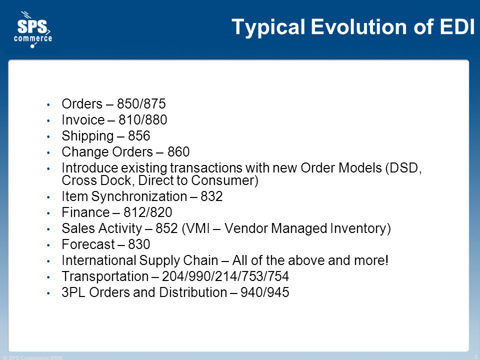 © SPS Commerce 2006 3 Typical Evolution of EDI Orders – 850/875 Invoice – 810/880 Shipping – 856 Change Orders – 860 Introduce existing transactions with new Order Models (DSD, Cross Dock, Direct to Consumer) Item Synchronization – 832 Finance – 812/820 Sales Activity – 852 (VMI – Vendor Managed Inventory) Forecast – 830 International Supply Chain – All of the above and more.