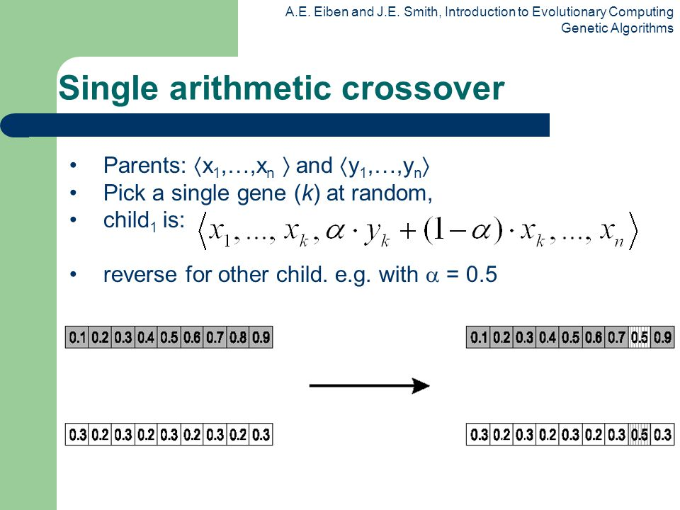A.E. Eiben and J.E. Smith, Introduction to Evolutionary Computing Genetic Algorithms Single arithmetic crossover Parents: x 1,…,x n and y 1,…,y n Pick