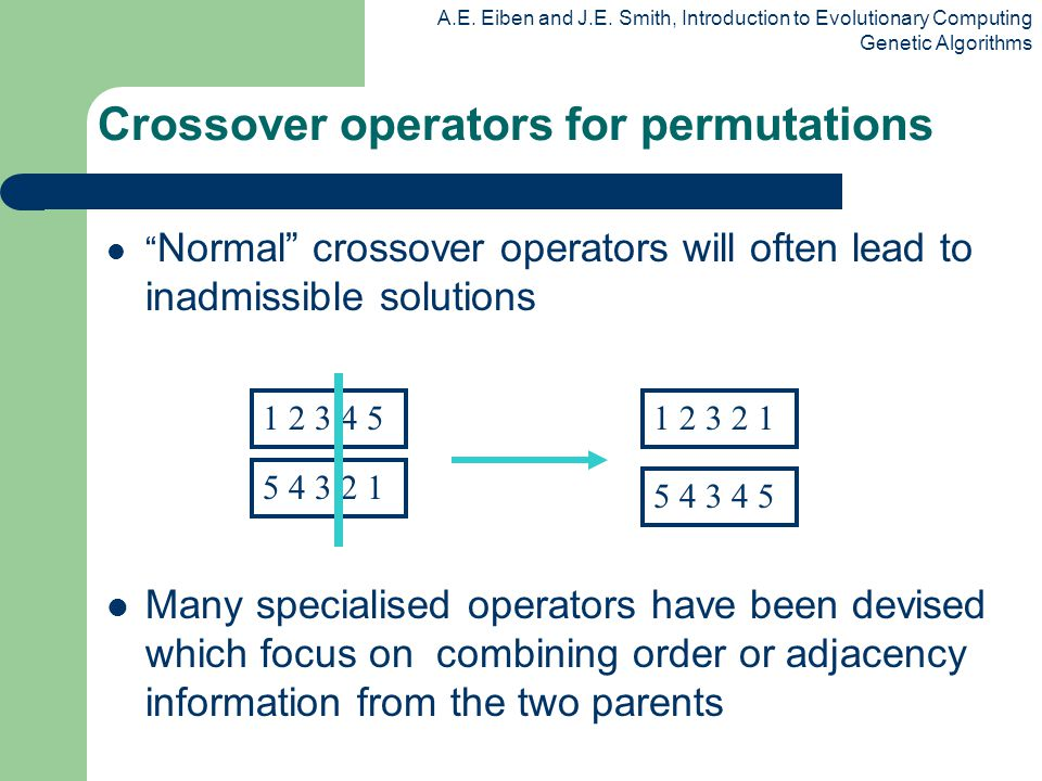 A.E. Eiben and J.E. Smith, Introduction to Evolutionary Computing Genetic Algorithms Normal crossover operators will often lead to inadmissible soluti