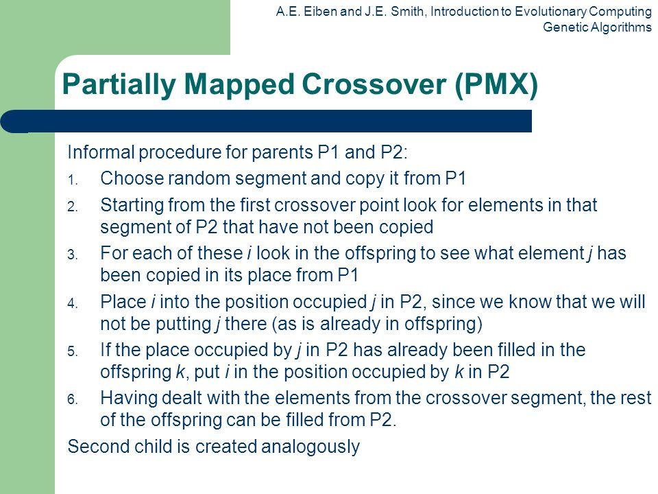 A.E. Eiben and J.E. Smith, Introduction to Evolutionary Computing Genetic Algorithms Informal procedure for parents P1 and P2: 1. Choose random segmen