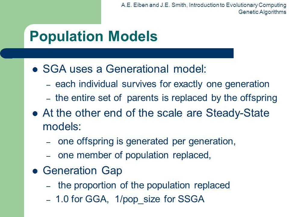 A.E. Eiben and J.E. Smith, Introduction to Evolutionary Computing Genetic Algorithms Population Models SGA uses a Generational model: – each individua