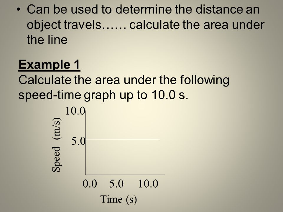 Can be used to determine the distance an object travels…… calculate the area under the line Example 1 Calculate the area under the following speed-tim