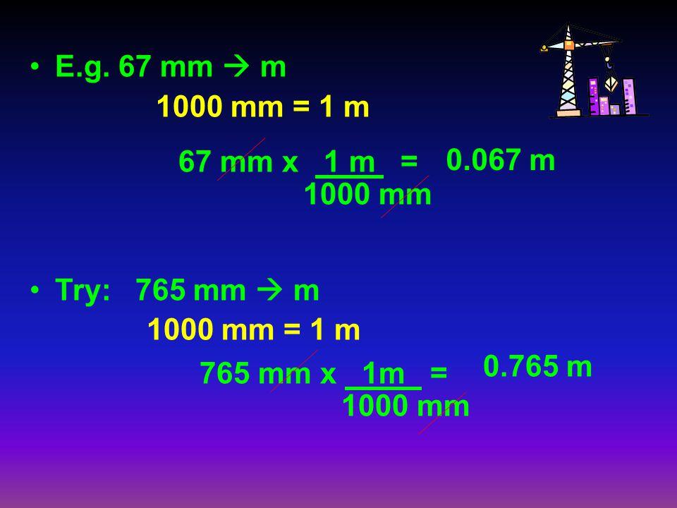 E.g. 67 mm m 1000 mm = 1 m Try: 765 mm m 1000 mm = 1 m 67 mm x 1 m = 1000 mm 765 mm x 1m = 1000 mm 0.067 m 0.765 m