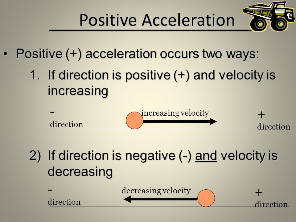 Positive Acceleration Positive (+) acceleration occurs two ways:Positive (+) acceleration occurs two ways: 1.If direction is positive (+) and velocity