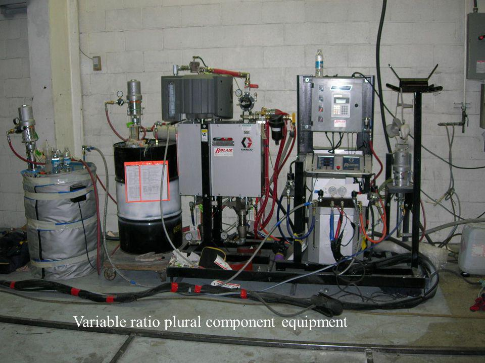 Variable ratio plural component equipment