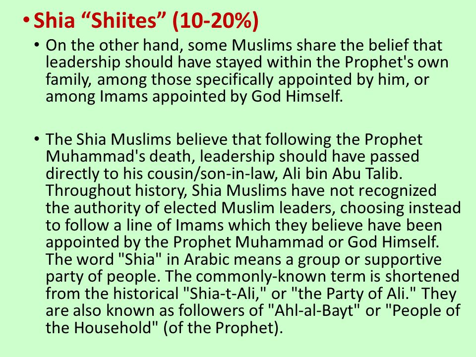 Shia Shiites (10-20%) On the other hand, some Muslims share the belief that leadership should have stayed within the Prophet's own family, among those