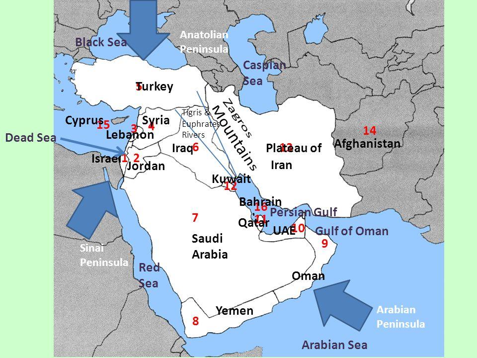 7 8 9 10 11 12 1 2 4 3 6 5 13 14 15 16 Israel Jordan Lebanon Syria Turkey Iraq Saudi Arabia Yemen Oman UAE Qatar Kuwait Iran Afghanistan Cyprus Bahrai