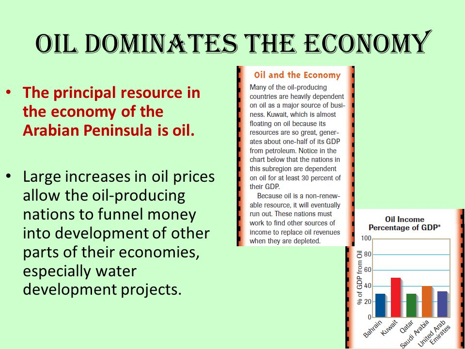 Oil Dominates the Economy The principal resource in the economy of the Arabian Peninsula is oil. Large increases in oil prices allow the oil-producing