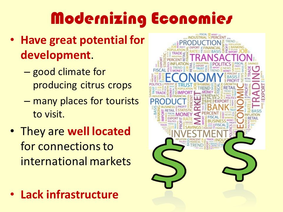 Modernizing Economies Have great potential for development. – good climate for producing citrus crops – many places for tourists to visit. They are we