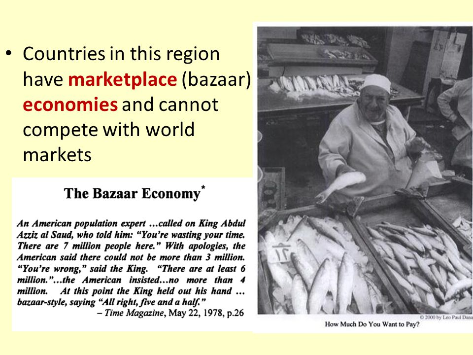 Countries in this region have marketplace (bazaar) economies and cannot compete with world markets