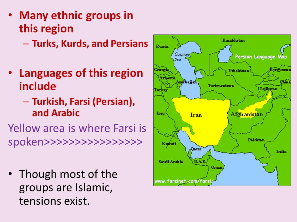 Many ethnic groups in this region – Turks, Kurds, and Persians Languages of this region include – Turkish, Farsi (Persian), and Arabic Yellow area is