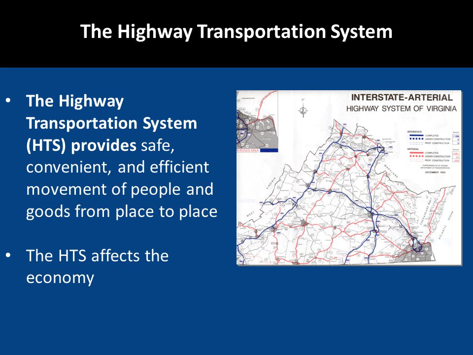 The Highway Transportation System The Highway Transportation System (HTS) provides safe, convenient, and efficient movement of people and goods from p