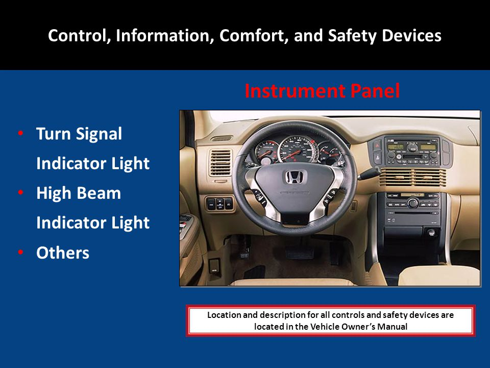 Turn Signal Indicator Light High Beam Indicator Light Others Location and description for all controls and safety devices are located in the Vehicle O