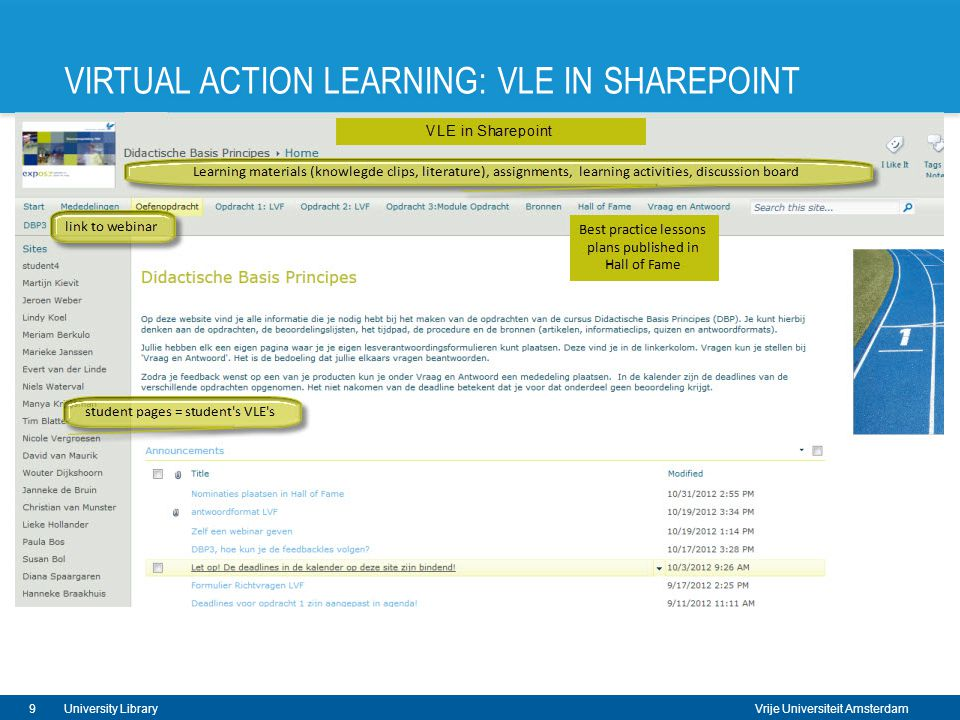 Vrije Universiteit Amsterdam VIRTUAL ACTION LEARNING: VLE IN SHAREPOINT 9University Library
