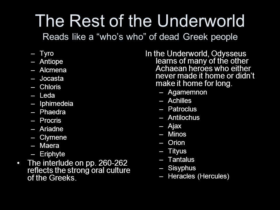 The Rest of the Underworld Reads like a whos who of dead Greek people –Tyro –Antiope –Alcmena –Jocasta –Chloris –Leda –Iphimedeia –Phaedra –Procris –A