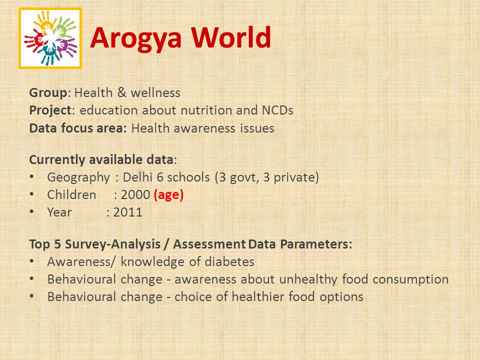 Arogya World Group: Health & wellness Project: education about nutrition and NCDs Data focus area: Health awareness issues Currently available data: Geography : Delhi 6 schools (3 govt, 3 private) Children : 2000 (age) Year : 2011 Top 5 Survey-Analysis / Assessment Data Parameters: Awareness/ knowledge of diabetes Behavioural change - awareness about unhealthy food consumption Behavioural change - choice of healthier food options