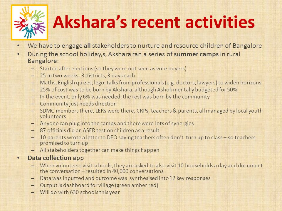 Aksharas recent activities We have to engage all stakeholders to nurture and resource children of Bangalore During the school holiday,s, Akshara ran a