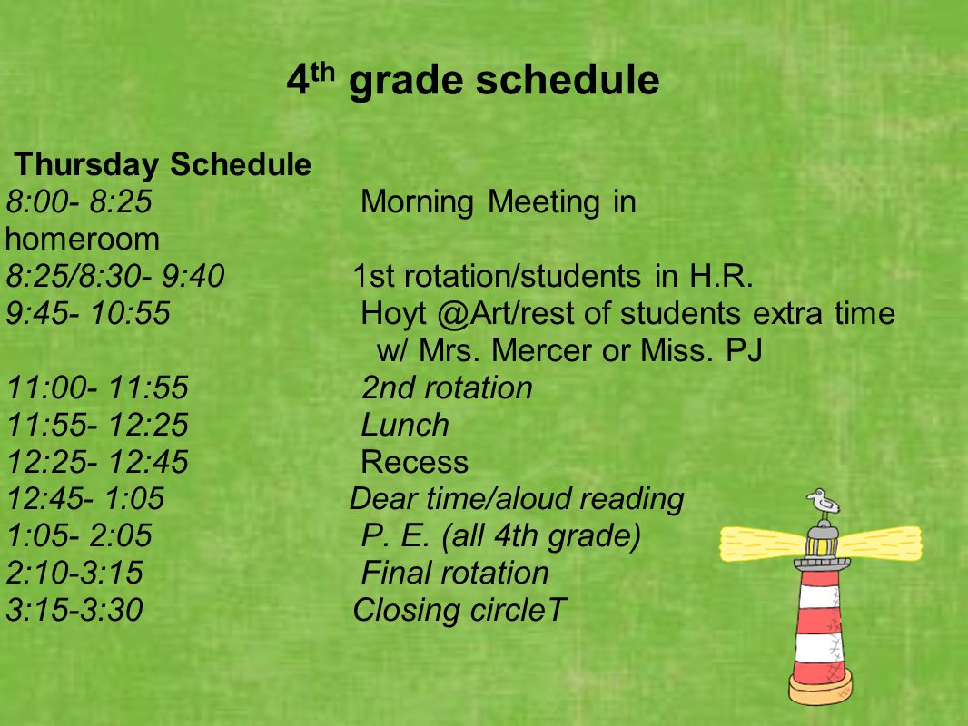 4 th grade schedule Thursday Schedule 8:00- 8:25 Morning Meeting in homeroom 8:25/8:30- 9:40 1st rotation/students in H.R. 9:45- 10:55 Hoyt @Art/rest