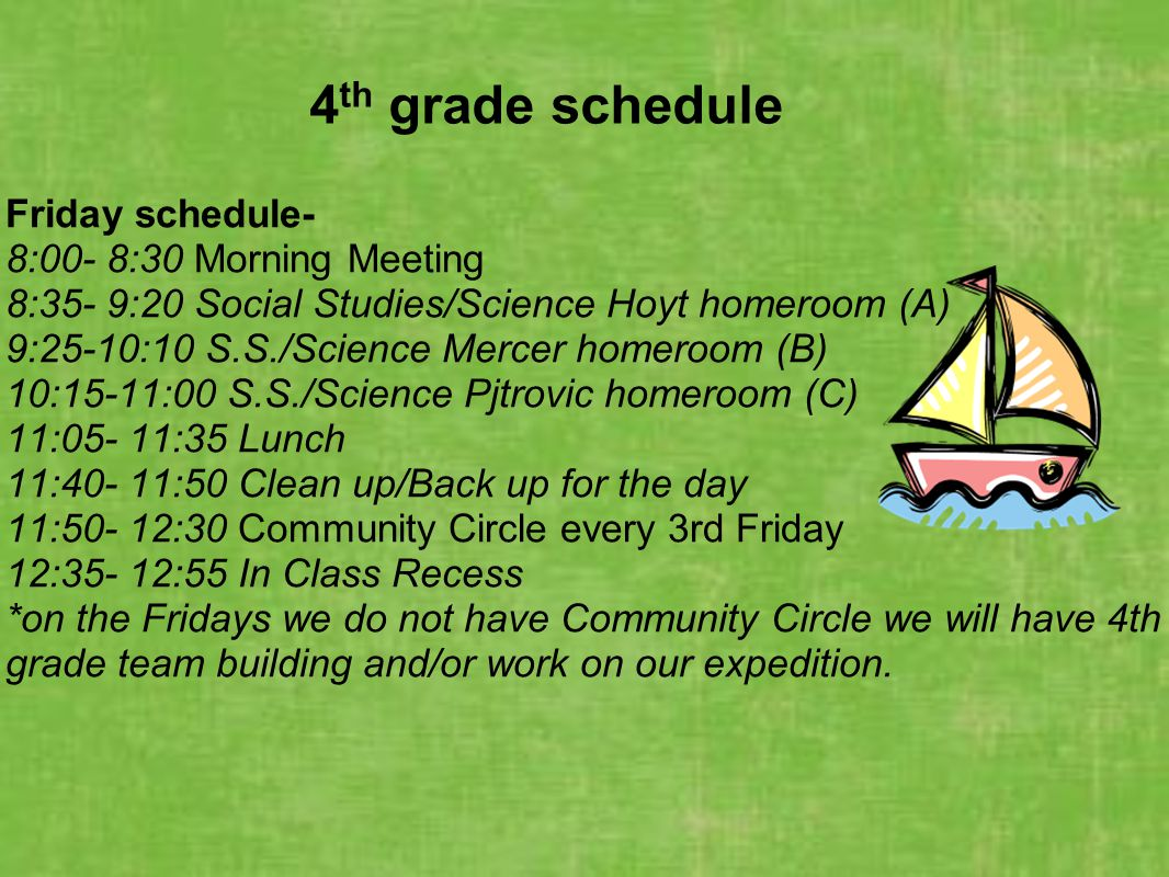 4 th grade schedule Friday schedule- 8:00- 8:30 Morning Meeting 8:35- 9:20 Social Studies/Science Hoyt homeroom (A) 9:25-10:10 S.S./Science Mercer hom