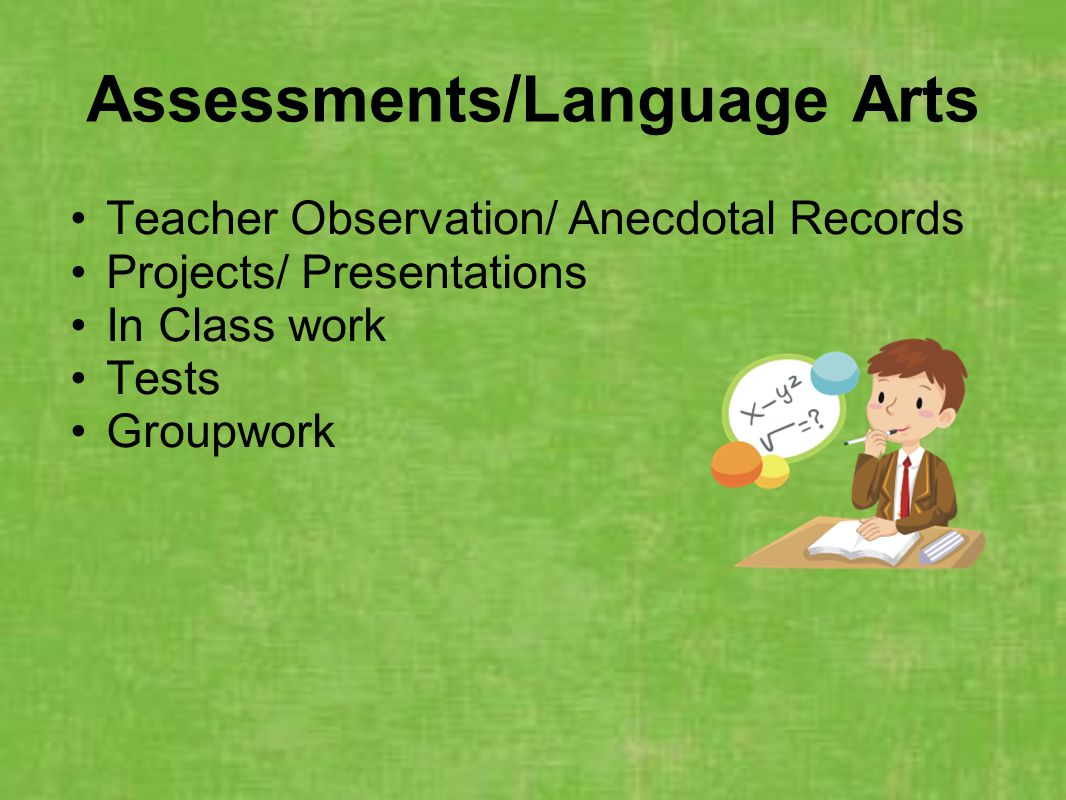 Assessments/Language Arts Teacher Observation/ Anecdotal Records Projects/ Presentations In Class work Tests Groupwork