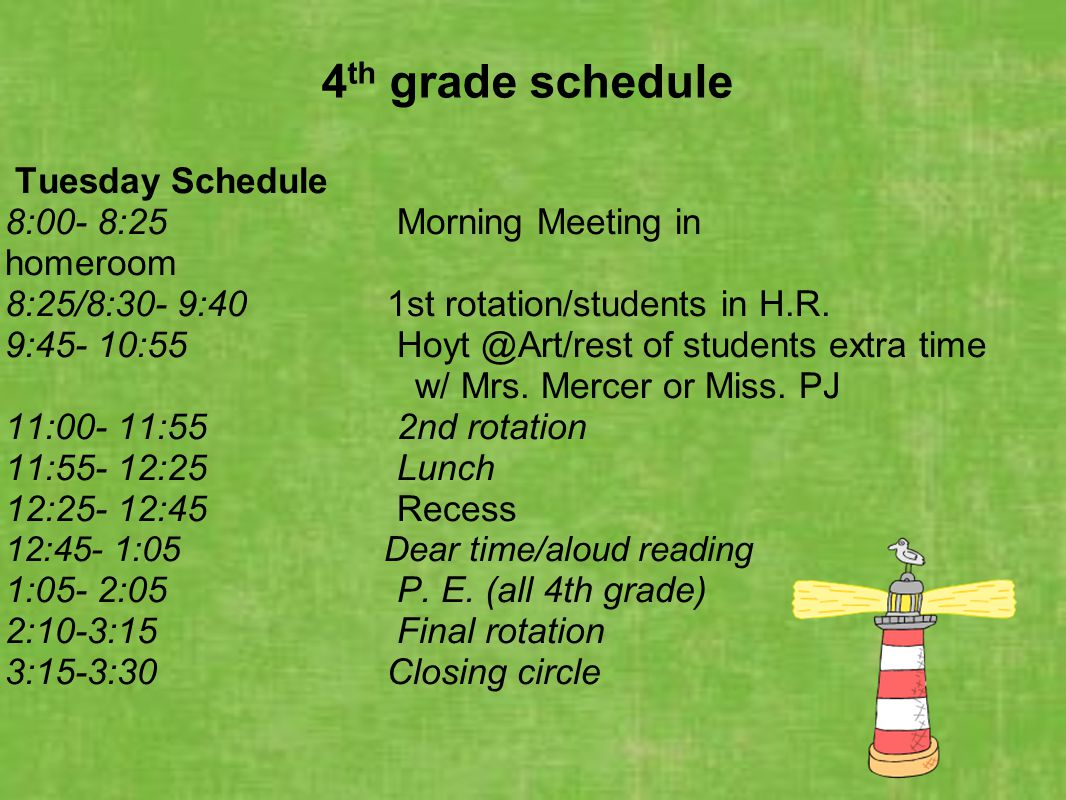 4 th grade schedule Tuesday Schedule 8:00- 8:25 Morning Meeting in homeroom 8:25/8:30- 9:40 1st rotation/students in H.R. 9:45- 10:55 Hoyt @Art/rest o