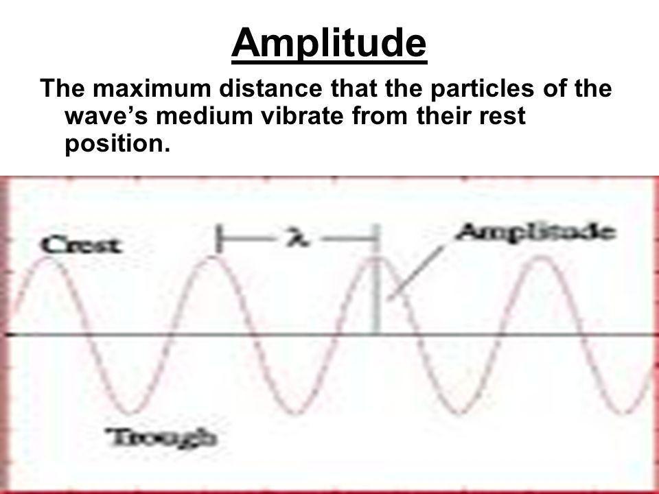 Amplitude The maximum distance that the particles of the waves medium vibrate from their rest position.