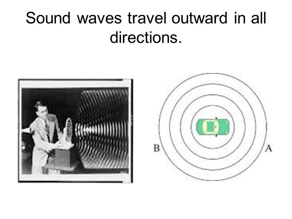 Sound waves travel outward in all directions.
