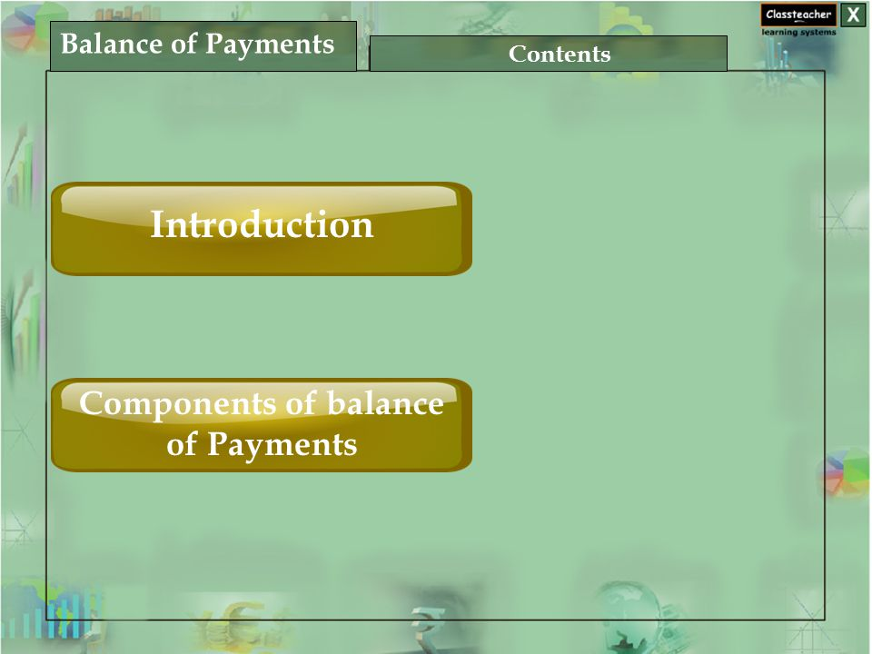 Balance of Payments Contents Introduction Components of balance of Payments