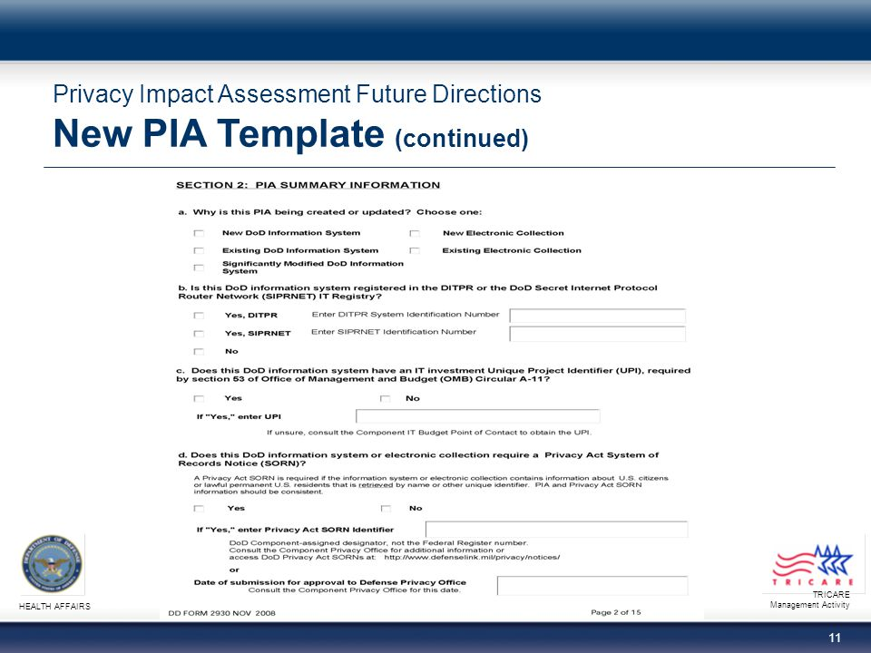 TRICARE Management Activity HEALTH AFFAIRS 11 Privacy Impact Assessment Future Directions New PIA Template (continued)