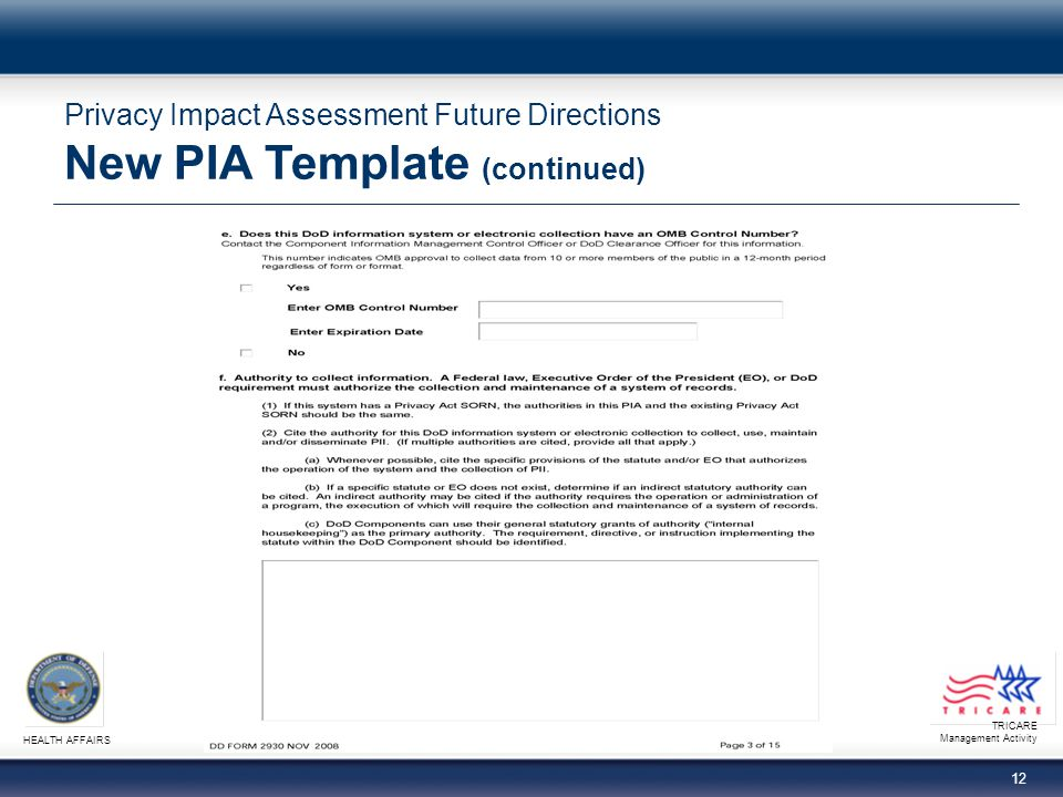 TRICARE Management Activity HEALTH AFFAIRS 12 Privacy Impact Assessment Future Directions New PIA Template (continued)