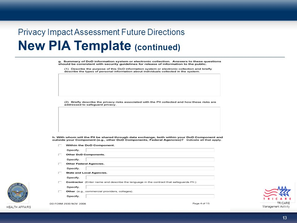 TRICARE Management Activity HEALTH AFFAIRS 13 Privacy Impact Assessment Future Directions New PIA Template (continued)