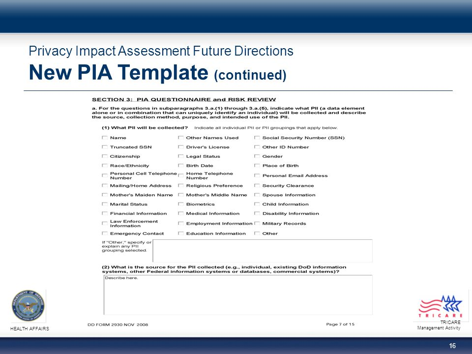 TRICARE Management Activity HEALTH AFFAIRS 16 Privacy Impact Assessment Future Directions New PIA Template (continued)