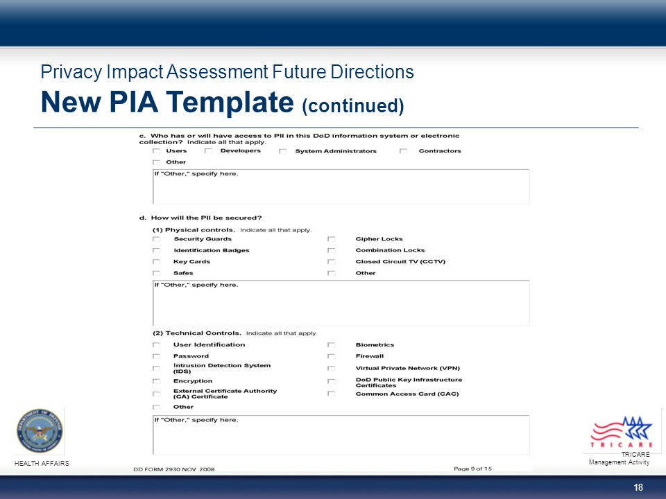 TRICARE Management Activity HEALTH AFFAIRS 18 Privacy Impact Assessment Future Directions New PIA Template (continued)