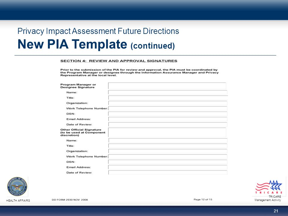TRICARE Management Activity HEALTH AFFAIRS 21 Privacy Impact Assessment Future Directions New PIA Template (continued)