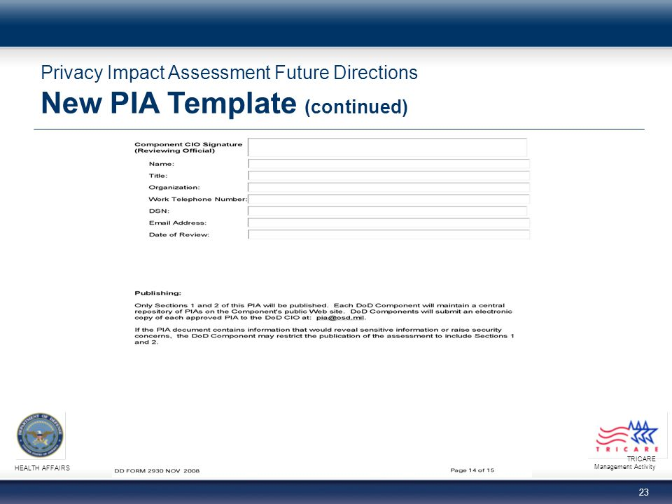 TRICARE Management Activity HEALTH AFFAIRS 23 Privacy Impact Assessment Future Directions New PIA Template (continued)