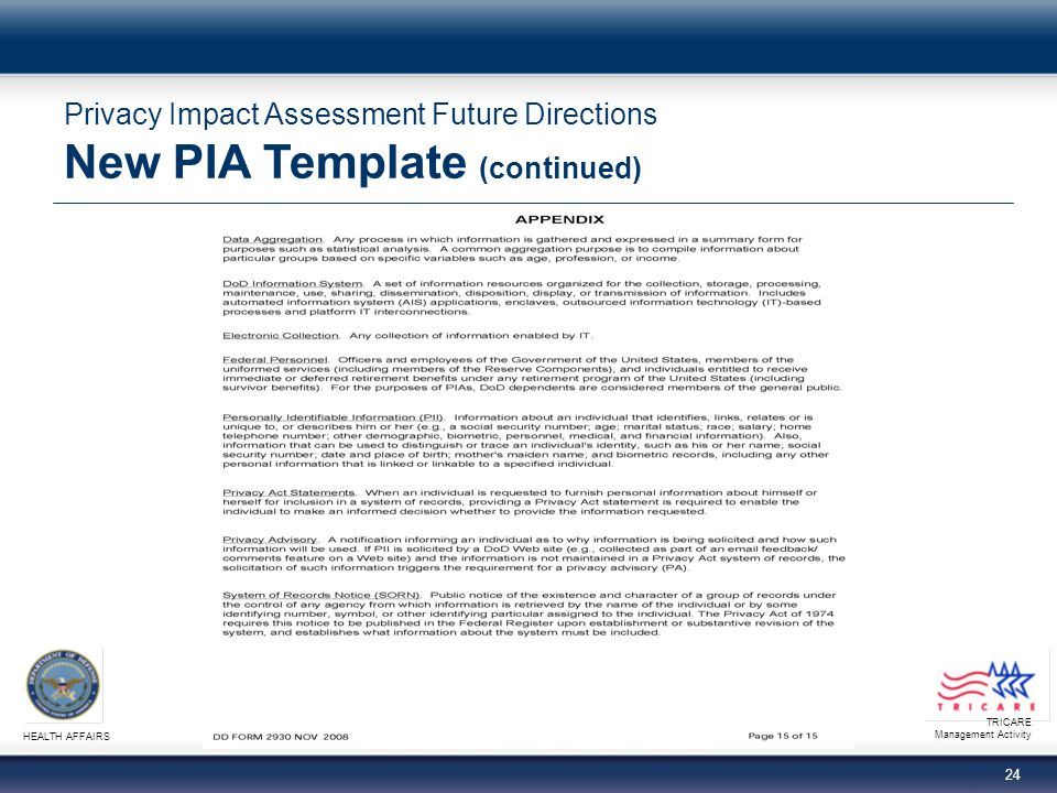 TRICARE Management Activity HEALTH AFFAIRS 24 Privacy Impact Assessment Future Directions New PIA Template (continued)