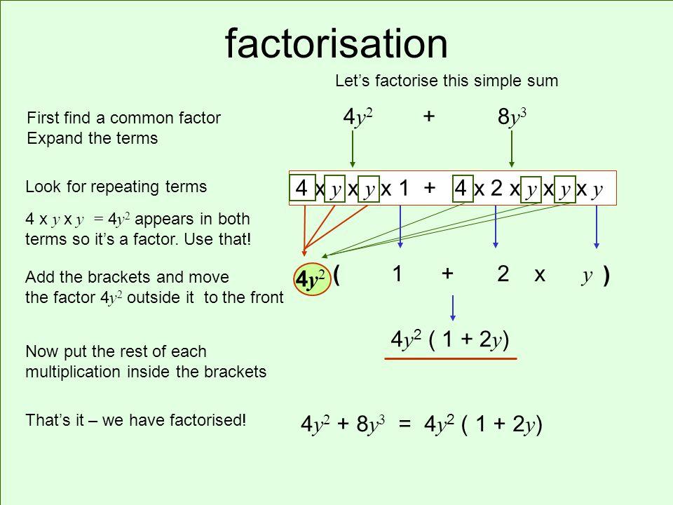 factorisation 4 y 2 + 8 y 3 4 x y x y = 4 y 2 appears in both terms so its a factor.