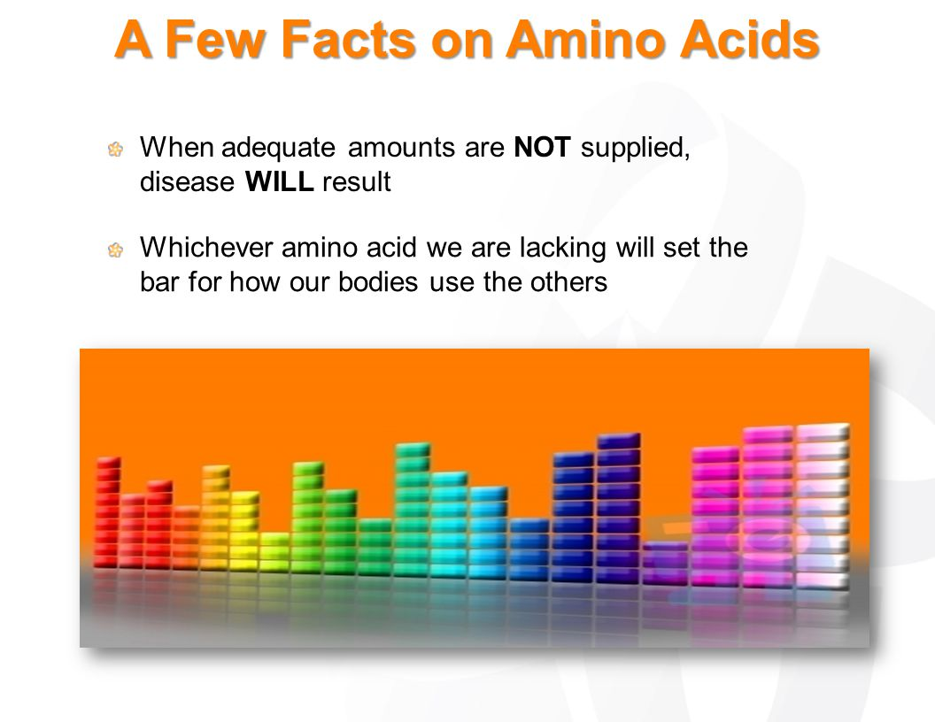 A Few Facts on Amino Acids When adequate amounts are NOT supplied, disease WILL result Whichever amino acid we are lacking will set the bar for how ou
