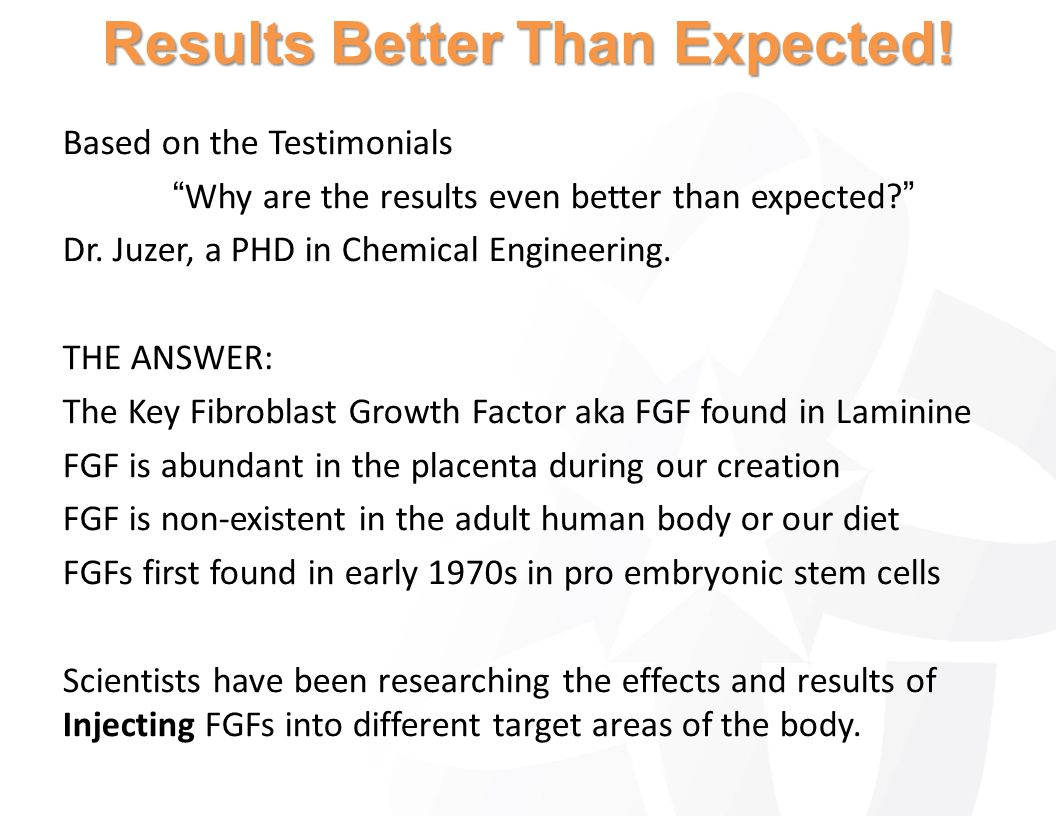 Based on the Testimonials Why are the results even better than expected? Dr. Juzer, a PHD in Chemical Engineering. THE ANSWER: The Key Fibroblast Grow